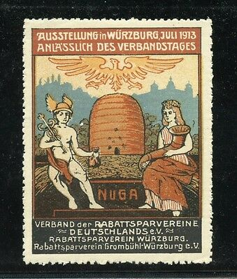 GERMANY POSTER STAMP MNH  - 1913 EXPOSITION IN WURZBURG inc. ILLUSTRATED BEEHIVE