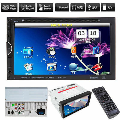 """Double 2 Din 7"""" In Dash Stereo Car DVD CD MP3 Player Bluetooth FM Radio USB SD"""