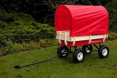 Pull along wagon cart Retro flyer + cover + chair festival red trailer kart