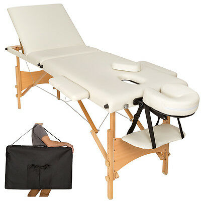 Table banc 3 zones lit de massage pliante cosmetique esthetique beige + sac