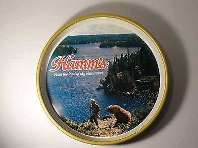 "Vintage 13"" Hamm's Beer Round Metal Serving Tray Grizzly"