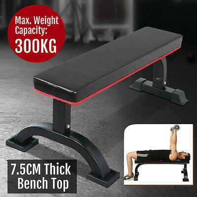Flat Fitness Bench Gym Strength Training Exercise Workout Home Sport Black