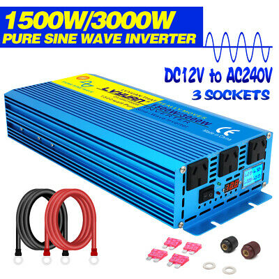 New LCD Pure Sine Wave Inverter 1500W/3000W 12V to 240V Boat Car Caravan camping