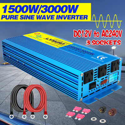 1500w pure sine wave inverter 12v to 240v with LCD car caravan boat camping gift