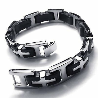MENDINO Men's Silver Black I Word Cross Bangle Rubber Stainless Steel Bracelet