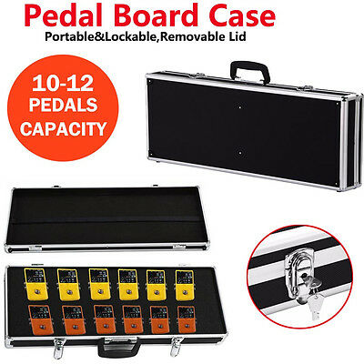 Large Guitar Effects Pedal Board Case Lockable Box-Removable Lid,10-12pcs Pedal