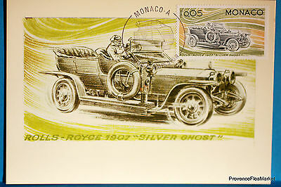 Yt 1018 ROLLS ROYCE 1907 SILVER GHOST    MONACO  CARTE MAXIMUM 1° JOUR FCP