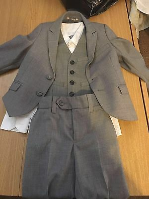 Boys 3-4 Next Grey Suit Jacket, Trousers, Waistcoat And Shirt