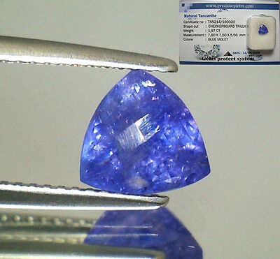 Tanzanite  Naturale Trillion  In Blister Ct. 1,97 Intrattata  Brillante