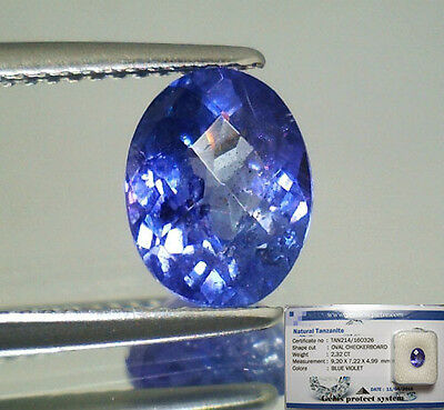 Tanzanite  Naturale Ovale  In Blister Ct. 2,32 Intrattata  Brillante
