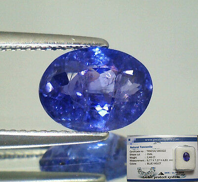 Tanzanite  Naturale Ovale  In Blister Ct. 2,48 Intrattata  Brillante