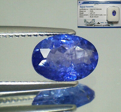 Tanzanite  Naturale Ovale  In Blister Ct. 1,87  Intrattata  Brillante