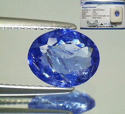 Tanzanite  Naturale Ovale  In Blister Ct. 2,12 Intrattata  Brillante