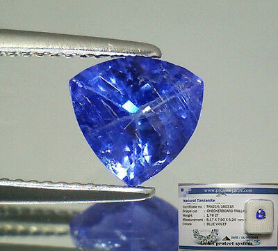 Tanzanite  Naturale Trillion  In Blister Ct. 1,76  Intrattata  Brillante