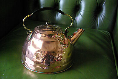 Vintage Beaten Copper & Brass Kettle - Excellent cond - Nicely polished