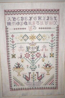 Vintage Cross Stitch Sampler Signed Dated 1988 44.5 cm x 28.5 cm  Scenic Figural