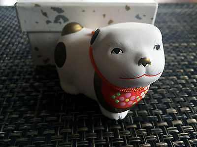 Vintage Japanese GINZA Hand Painted Ceramic DOG / Bell with Original Box