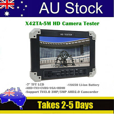 "X42TA 7"" LCD Screen Portable HD-TVI3+AHD+HDMI+VGA+CVBS Cam Video CCTV Tester j6"