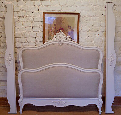 French Antique Louis XV Double Bed Frame in authentic French Linen Fabric