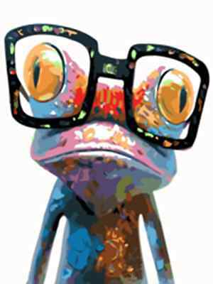 "16x20"" DIY Acrylic Paint By Number kit Oil Painting On Canvas Frog Glasses SP639"