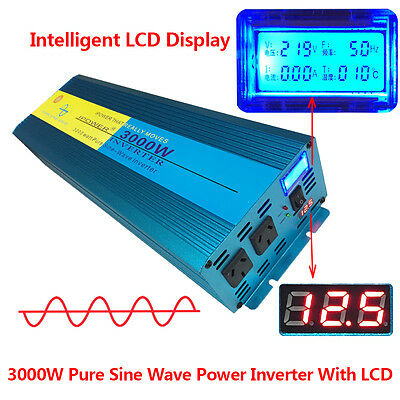 LCD 3000w pure sine wave power inverter 12v to 240v car boat camping travel