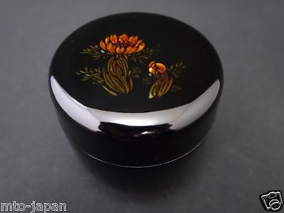Japanese Lacquer Resin Tea Caddy Flower Makie Natsume (1216)