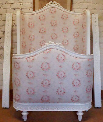 VERY RARE French Antique Full Corbeille Single Bed upholstered in PEONY & SAGE