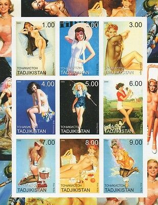 Nude Sexy Lady Erotic Art Tadjikistan 2000 Imperforated Mnh Stamp Sheetlet
