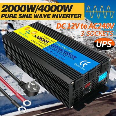2000w pure sine wave inverter 12v to 240v with UPS charger car caravan camping
