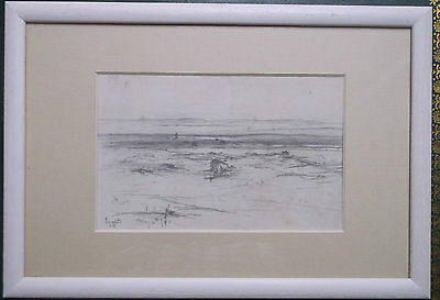 FRAMED GRAPHITE DRAWING signed A STUDY OF A LANDSCAPE IN EGYPT