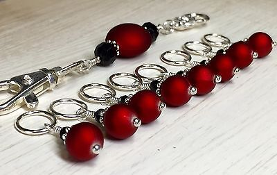 Handmade Beaded Stitch Marker Set with Lanyard (SNAG FREE)- Red Wine