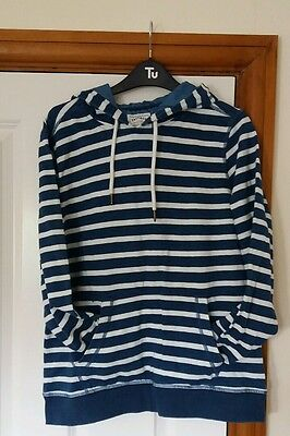 Fat Face womens hoodie jumper size 10 blue white stripes