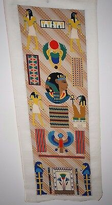 Vintage Needlepoint Tapestry Hand Embroidered Egyptian Theme - Beautiful Work