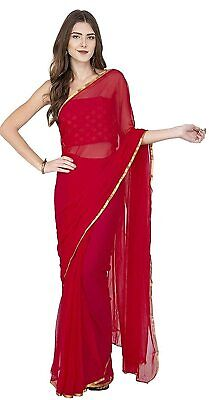 Red Bollywood Saree Party Indian Ethnic Wedding Designer Sari with Floral Border