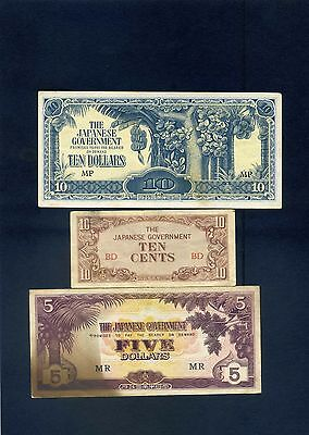x3 Japanese  Occupation  Banknotes