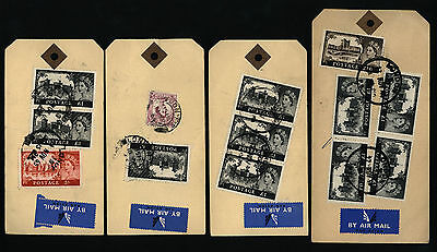 Castles / GB 4 x Parcel Post Tags (Note Stamps on both sides) Postmarked 1960's