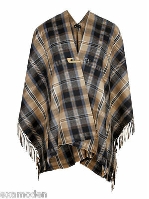 Cape Poncho Umhang Hochwertige Wolle kariert Emanuele Vittoriano one Size Mantel