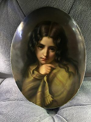 Exceptional Kpm Porcelain German Hand Painted Porcelain Plaque Lady Portrait