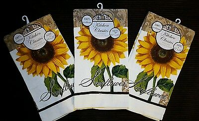NWT SUNFLOWER KITCHEN HAND TEA 3 PRINTED TOWELS SET DECOR 15x25 COTTON FLORAL