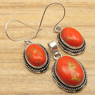 Tribal Earrings & Pendant Set, Orange Copper Turquoise Oval, 925 Silver Plated