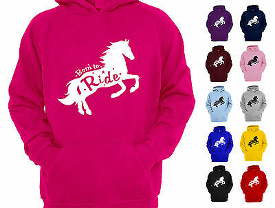 Born To Ride Girls Starry Horseriding Childrens Kids Designer Hoodie Hoody