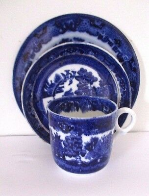 Antique early Victorian flow blue & white  cup, saucer & olate trio