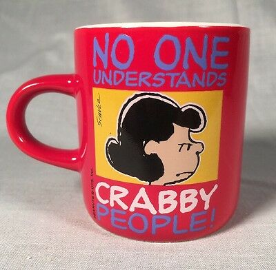 "Vintage - Peanuts - Lucy - Small 2.5"" Coffee Mug - ""Crabby People"""