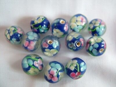 10 round lampwork cased glass flower beads in navy blue