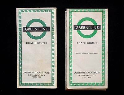 2 1960s GREEN LINE COACH ROUTE MAPS