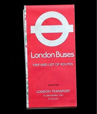 1972 London Buses Map And List Of Routes