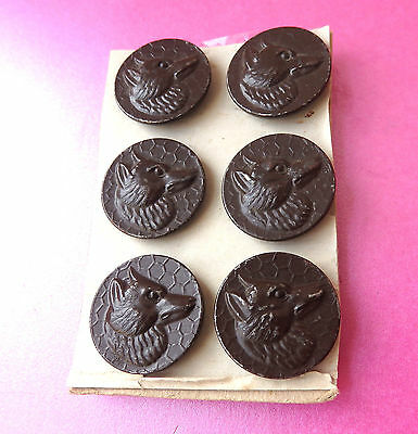 Antique Set Of 6 Paris Tin Back  Hunting Buttons,raised Fox Heads..