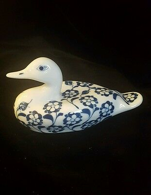 Blue On White China Duck