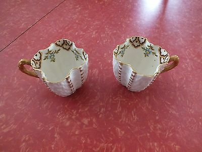 Two Carlsbad Tea Cups, White With Design On Inside