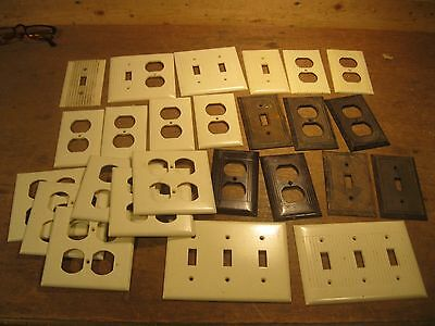 antique switch outlet cover lot vintage electrical hard plastic deco trim plate